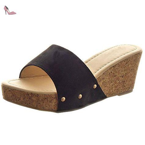 Sopily Chaussure Femmes Mode Plateforme Cheville Clouté Sandale lKFTc1J