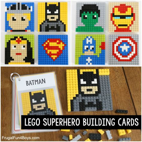 LEGO Superhero Building Cards - Frugal Fun For Boys and Girls Build superhero patterns with LEGO bricks! Print the building cards from the post. These are fun to build on a base plate or a LEGO wall. Lego Toys, Lego Duplo, Legos, Superhero Writing, Pokemon Lego, Juegos Baby, Lego Challenge, Lego Wall, Lego Club