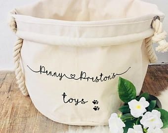 Personalized Dog Toy Basket I The Pretty Paper Cottage Dog Toy