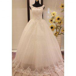 $89.12 Charming Scoop Neck Beading Appliques Jacquard Embellished Lace Up Wedding Dress For Bride