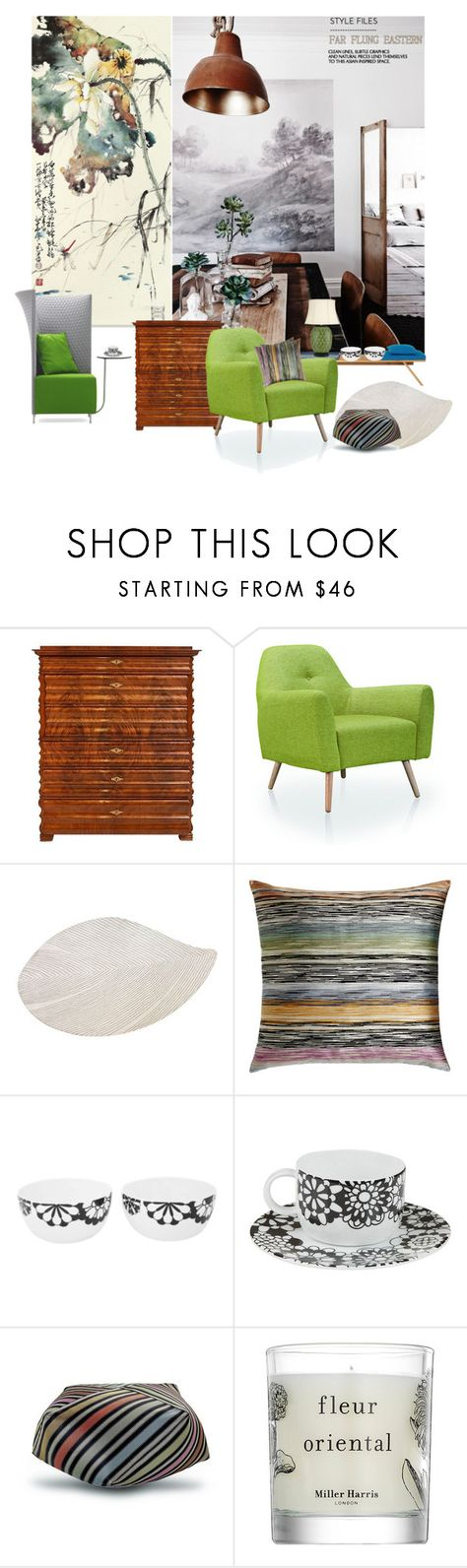 """""""Eastern Design (T.S)"""" by sue-mes ❤ liked on Polyvore featuring interior, interiors, interior design, home, home decor, interior decorating, Dot & Bo, nanimarquina, Missoni Home and Miller Harris"""