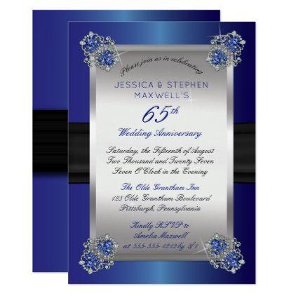 Elegant Diamonds Blue Spinel 65th Anniversary Invitation Zazzle Com Blue Wedding Invitations Anniversary Invitations Wedding Invitations