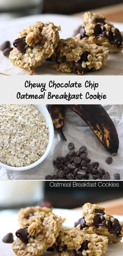 "Oats, ripe bananas and chocolate chips – these healthy, ""breakfast"" cookies are chewy and delicious, and made with just three ingredients. #breakfastSorprise #breakfastIdeen #Quickbreakfast #breakfastClub #breakfastBuffet"