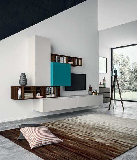 Living Et Meuble Tv Composable Au Design Contemporain Porto Venere En 2020 Meuble Suspendu Salon Meuble Living Deco Meuble Tv