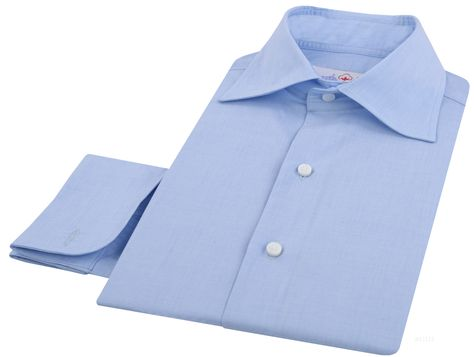 """Luxire dress shirt constructed in Pale Blue End-on-End: http://luxire.com/products/pale_blue_graph_checks  Consists of English collar with 3.58"""" collar points and french cuffs."""
