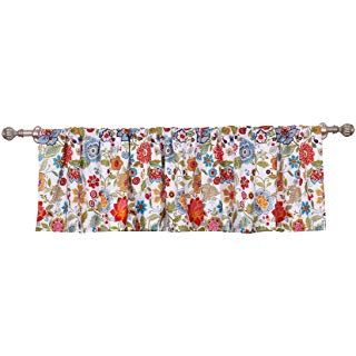 Amazon Com Jinchan Floral Printed Tie Up Valance 1 Pc 20 Red