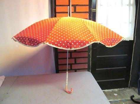 Vintage FUMC Red Polka Dot Umbrella Parasol Whimsical