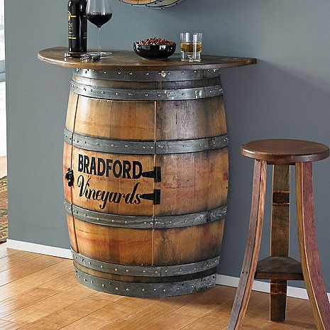 personalized half barrel bar wine