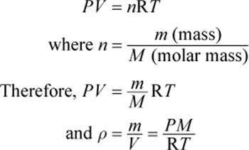 Imp Ideal Gas Law And Density Ideal Gas Law Molar Mass Equation