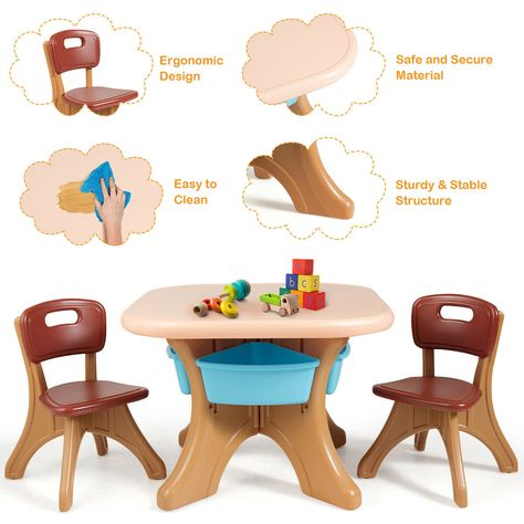 Children Kids Activity Table Chair Set Play Furniture W Storage Coffee Kids Art Table Kids Furniture Sets Table Chairs