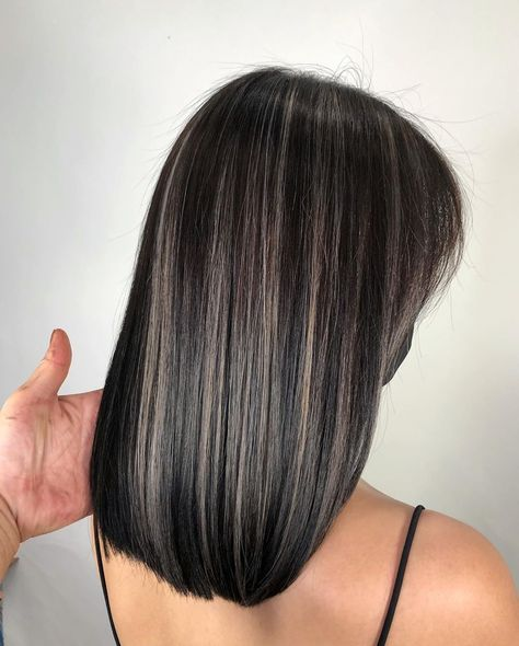 Black Hair With Grey Highlights, Hair Color For Black Hair, Grey Brown Hair, Hidden Hair Color, Grey Ombre Hair, Black Curly Hair, Black Highlighted Hair, Black Hair Dyed Brown, Black Hair With Balayage