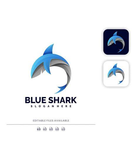Blue Shark Gradient Logo Template  AI, EPS, PSD