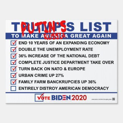 Trumps Checklist Yard Sign Yard Signs Outdoor Signs Create Sign