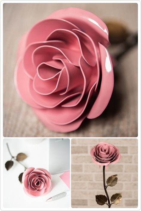 Metal Rose • Baby Pink • Iron Anniversary • 6th Anniversary • Hand Forged • Wrought Iron • Blacksmith • Personalized Gift • Bridesmaid Gift