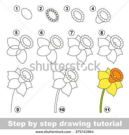 Daffodil Drawing Tutorial In 2020 Drawing Tutorial Cartoon Drawing Tutorial Drawings