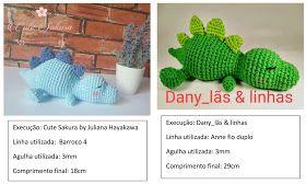 Amigurumi Dinosaur Free Pattern | Brinquedos de crochê para bebê ... | 168x280