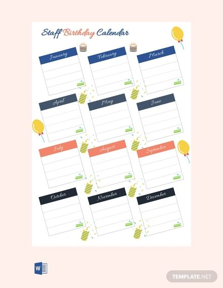 Free Staff Birthday Calendar Birthday Calendar Birthday