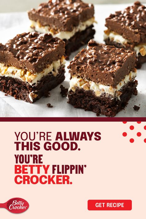 Discover a Thanksgiving-ready brownie recipe that's good from the bottom to the top. Enjoy layers of the good stuff, like a brownie bottom made with Betty Crocker Supreme Original Brownie Mix, frosting and peanuts in the middle, and a top layer of crunchy cereal. Save it to your Thanksgiving board for when you're tired of rocking pumpkin pie.
