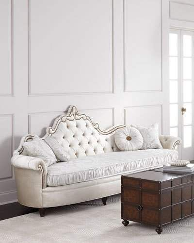 Very Princess Like Josephine White Tufted Back Sofa Classic Style
