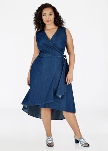 Sleeveless Denim Wrap Dress | Wrap dress, Dresses, Plus size ...