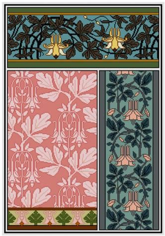 Columbine Floral Panel Cross stitch pattern PDF historical art nouveau / M.P. Verneuil