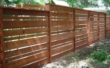 Custom Horizontal Fence Using 1x4 1x6 And 1x8 Boards Good Neighbor Fence Horizontal Fence Privacy Fence Designs