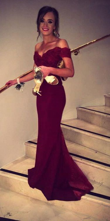 Off-shoulder Mermaid Long Burgundy Chiffon Prom Dress with Lace Top ==