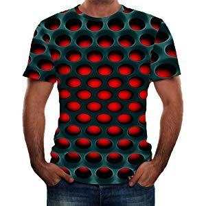 Mens Casual 3D Digital Print Tops Round Neck Short Sleeve Shirts T Shirt Blouse