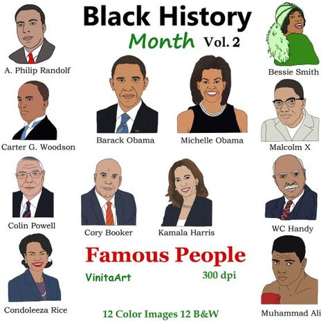 Black History Month Vol 2 Famous People, Obama, Muhammad Ali, Colin Powell, Digital Stamps, Kamala Harris, Malcolm X