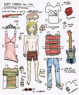 Kurt Cobain paer doll. #paperdoll #kurtcobain #freebie