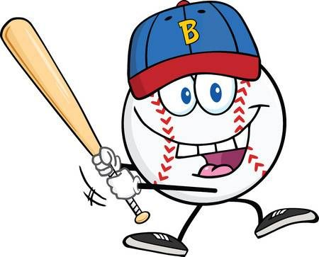 Happy Baseball Ball With Cap Swinging A Baseball Bat Illustration Baseball Balls Baseball Bat Vector