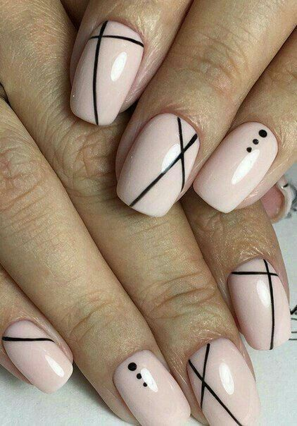 Love The Simplicity Of The Black Lines Against The Baby Pink Lines On Nails Best Nail Art Designs Line Nail Designs