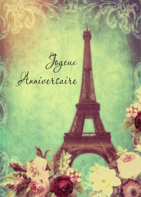 Happy birthday in French, Eiffel tower Paris, vintage look