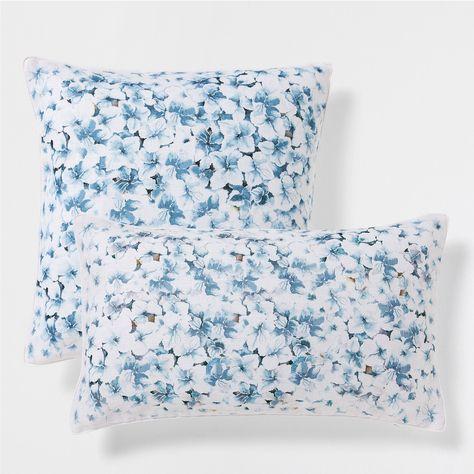 Cuscini Celesti.Cuscino Lino Celeste Stampa A Fiori Printed Cushions Pillows