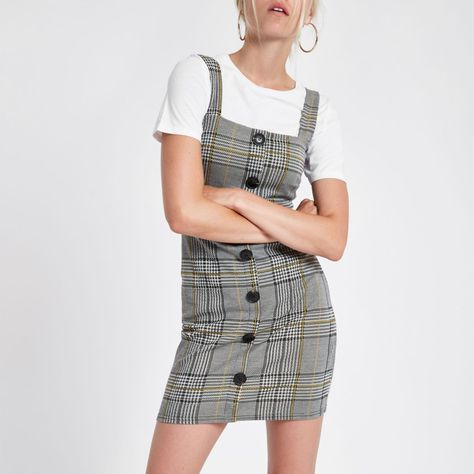 3ad10a5135 Grey check button up mini dress - Bodycon Dresses - Dresses - women