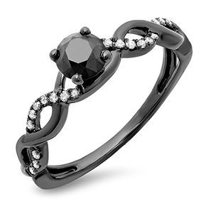 Dazzlingrock Collection 0 65 Carat Ctw Black Rhodium Plated 10k Round Black White Diamond Swirl Engagement Ring White Gold Engagement Rings And Wedding B Black Gold Jewelry White Gold Diamond