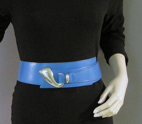VCAT Vintage 80s Belt Cobalt Blue Shiny Silver Accent Wide