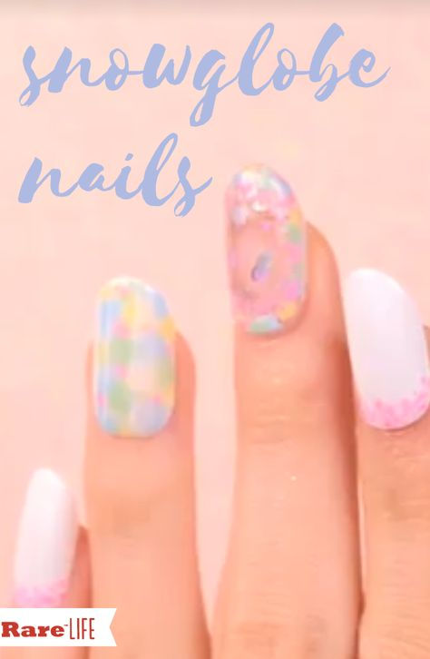 Creating a jaw-dropping snow globe effect on your nails is not nearly as complicated as it sounds.#Nails #beauty #manicure