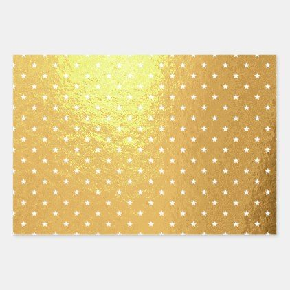 White Star Pattern On Gold Foil Wrapping Paper Sheets Classic Gifts Gift Ideas Diy Custom Unique Wrapping Paper Sheets Wrapping Paper Foil Wrapped