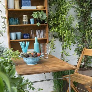 Salon Pour Balcon 2 Places Table Murale Pliante 2 Chaises Pliantes En Acacia Fsc Salon De Jardin Jardins En Bois Table De Balcon