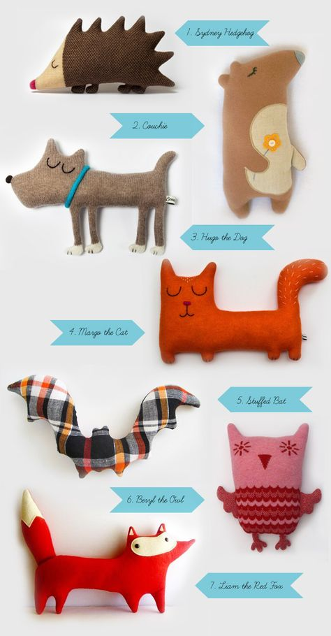 This is supposed to be inspiration for kids making their own cuddly animals. They could also be great characters for kids to use in stories. I can almost hear their (animal) voices in my head!