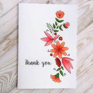 Using A Digital Stamp Handmade Thank You Cards Cards Handmade