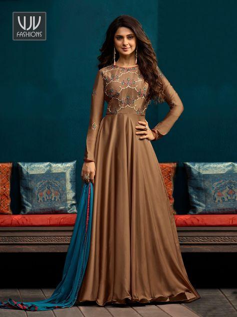 fd926a14690eff Buy Jennifer Winget Brown Celebrity Anarkali Suit - VJV