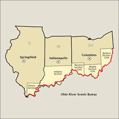 Ohio River Scenic Byway For PA OH IN And IL Travel - Ohio river on us map
