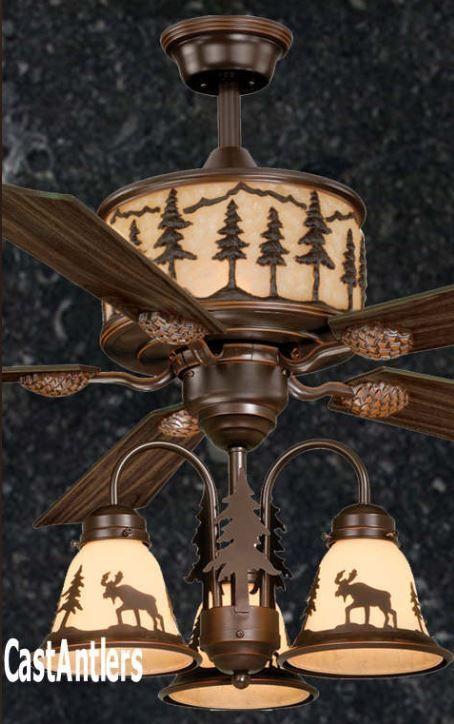 56 Lodge Rustic Cabin Country Ceiling Fan W Light Kit Bear Moose