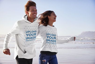 Download Placeit Mockup Of A Couple With A Hoodie And A Sweatshirt Running On The Beach Sweatshirts Hoodies Running On The Beach