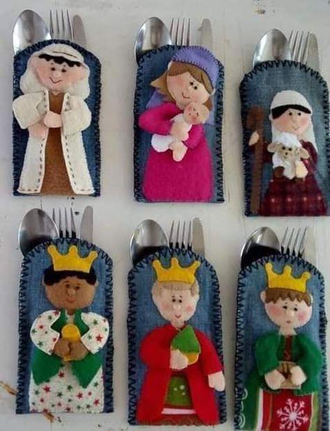 Presepio Porta Talher Com Molde Para Imprimir Costura Natal
