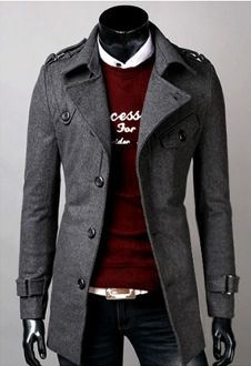 Men s Mid-Length Coat with Belt   guy swag   Pinterest 64bf3d2ca9a
