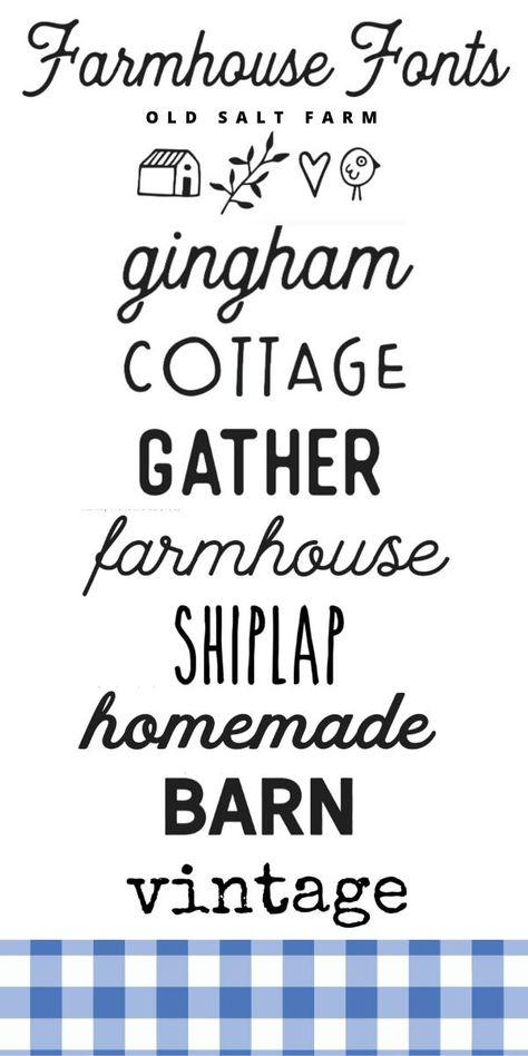 Farmhouse Font, Farmhouse Decor, Cute Fonts, Pretty Fonts, Farm Fonts, Font Combinations, Computer Font, Cricut Craft Room, Cricut Fonts