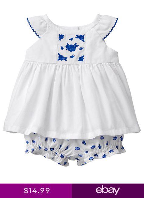NWT Gymboree Gazebo Party White Blue Rose Bloomer Outfit Set 2PC Baby Girl